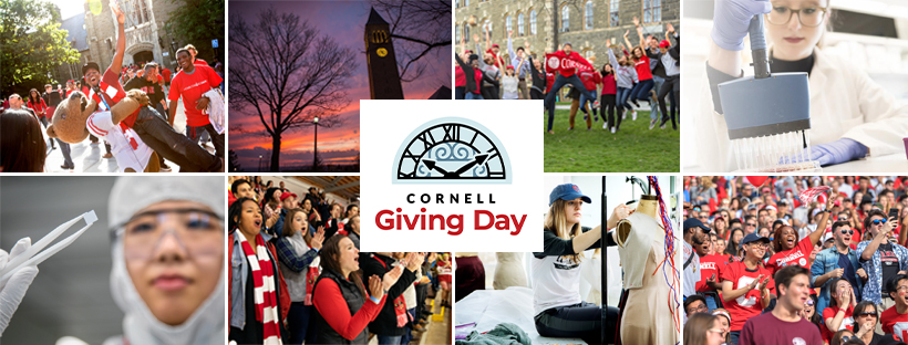 Cover Photo -- collage of campus and students showing Big Red spirit with Cornell Giving Day logo in the center