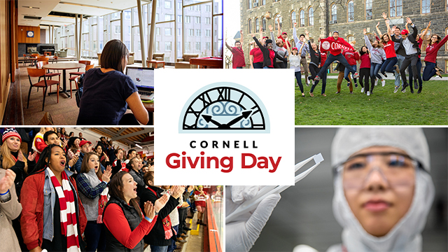 Mobile Cover Photo -- collage of campus and students showing Big Red spirit with Cornell Giving Day logo in the center