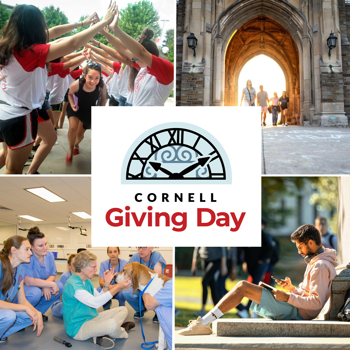 Photo Profile -- collage of campus and students showing Big Red spirit with Cornell Giving Day logo in the center