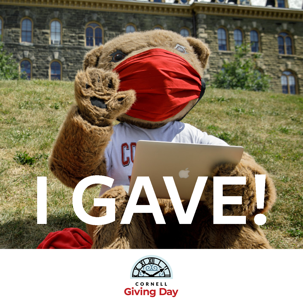Donor Badge 2 -- Touchdown wearing a mask and waving saying I GAVE with Cornell Giving Day logo