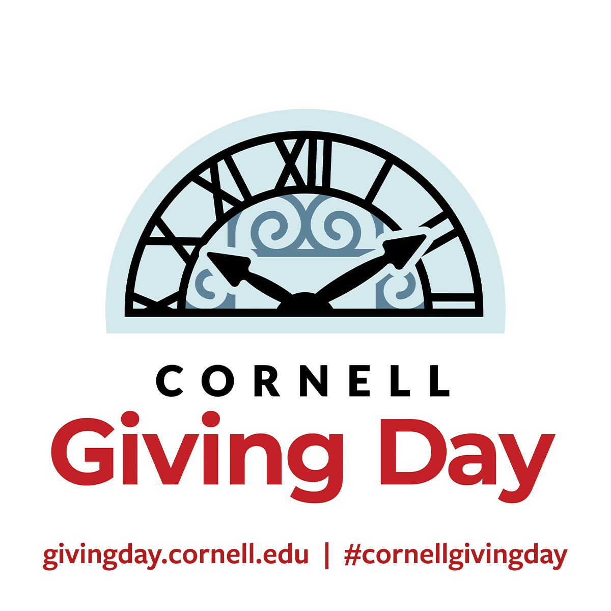Logo Profile 2 -- Cornell Giving Day clock logo with Giving Day site URL and hashtag