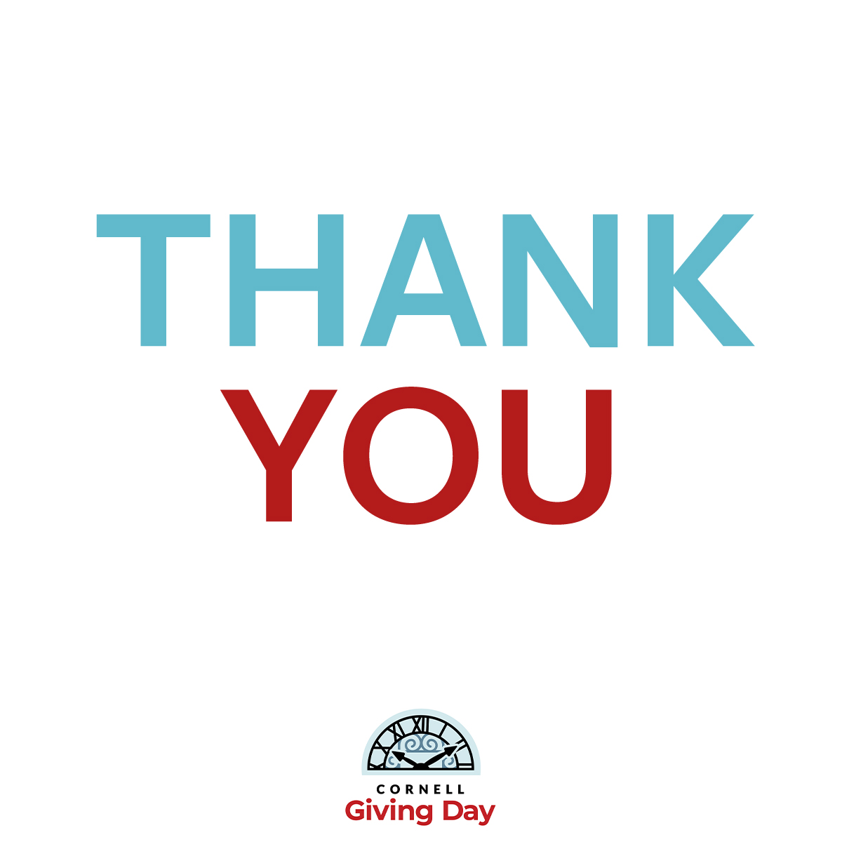 Thank You Image -- THANK YOU written in blue and red with Cornell Giving Day logo