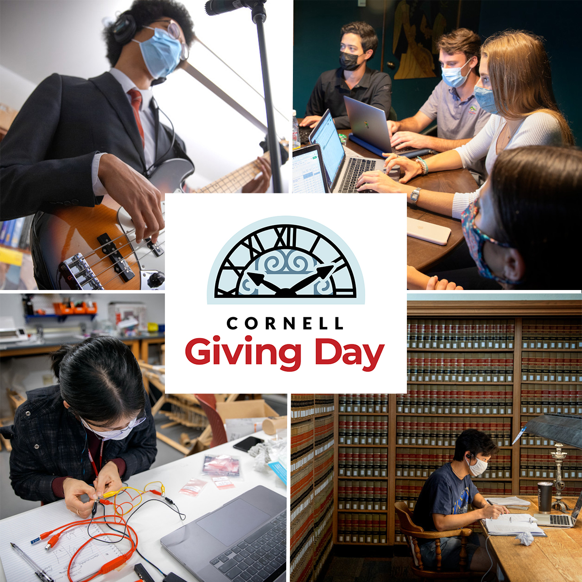 Social Share 1 -- collage of students wearing masks showing Big Red spirit with Cornell Giving Day logo in the center
